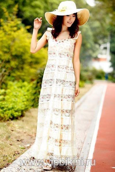 Макси платье, Белый
