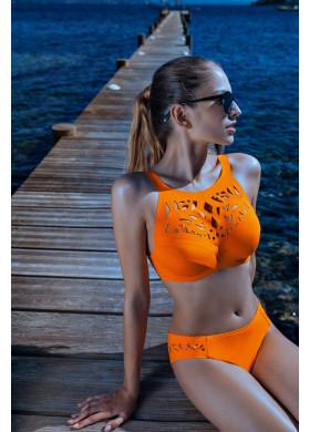 Оранжевый раздельный купальник с узором