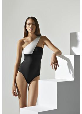 Ассиметричный черный купальник с белой полосой