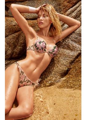 Камуфляжный розово-зеленый раздельный купальник