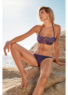 Фиолетовый раздельный купальник бандо с узорами