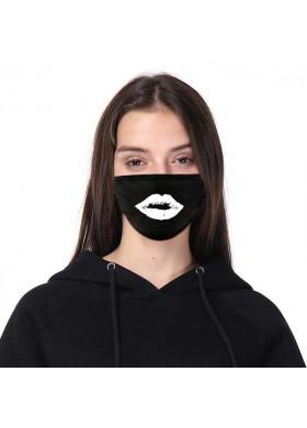 Черная защитная маска с принтом губ