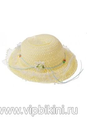 Желтая детская шляпа с ажурными полями