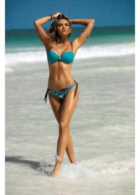 Голубой раздельный купальник с принтом