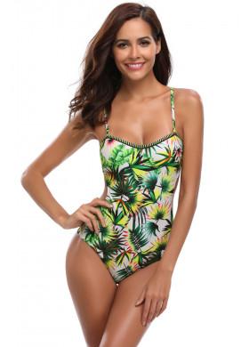 Тропический сплошной купальник