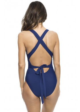 Сплошной синий купальник с бантом на спине
