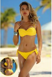 Желтый раздельный купальник на завязках