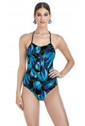 Слитный черно-голубой купальник