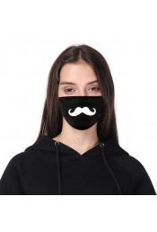 Черная защитная маска с принтом усов