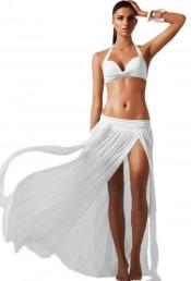 Белая юбка с разрезом