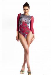 Сплошной купальник с рукавами Фламинго