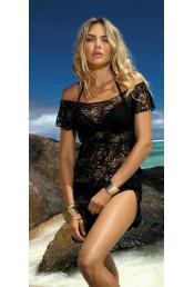 Черное пляжное платье D-12-188C