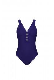 Фиолетовый сплошной купальник с запонками