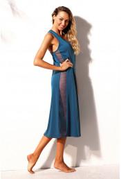 Синее пляжное платье