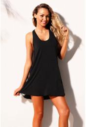 Черное короткое пляжное платье