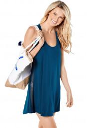 Короткое синее пляжное платье