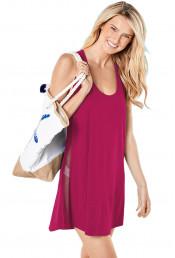 Розовое короткое пляжное платье