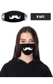 Черная защитная маска с принтом усов, 5 шт.